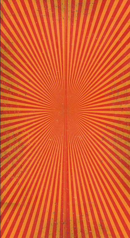 Mark Grotjahn-Untitled (Poppy Red & Yellowed Orange Butterfly 50.94)-2018
