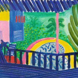 David Hockney-Pool And Pink Pole-1984