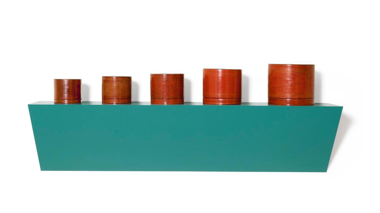 Haim Steinbach-Untitled (5 Burmese Lacquerware Containers)-1989