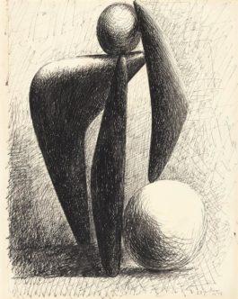 Pablo Picasso-Dessin (Carnet Dinard 1044, Page 2, Baigneuse, Projet Pour Un Monument)-1928
