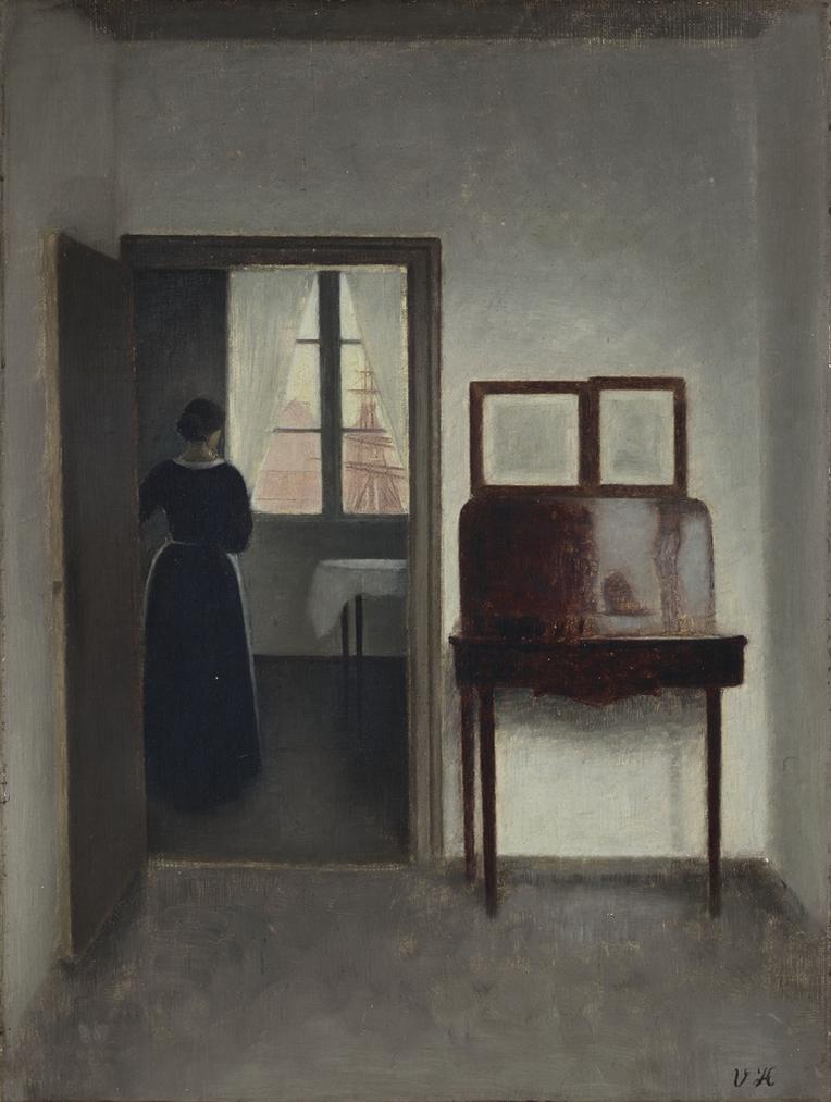 Vilhelm Hammershoi - Interior With A Woman (Stue Med En Kvinde)-1897