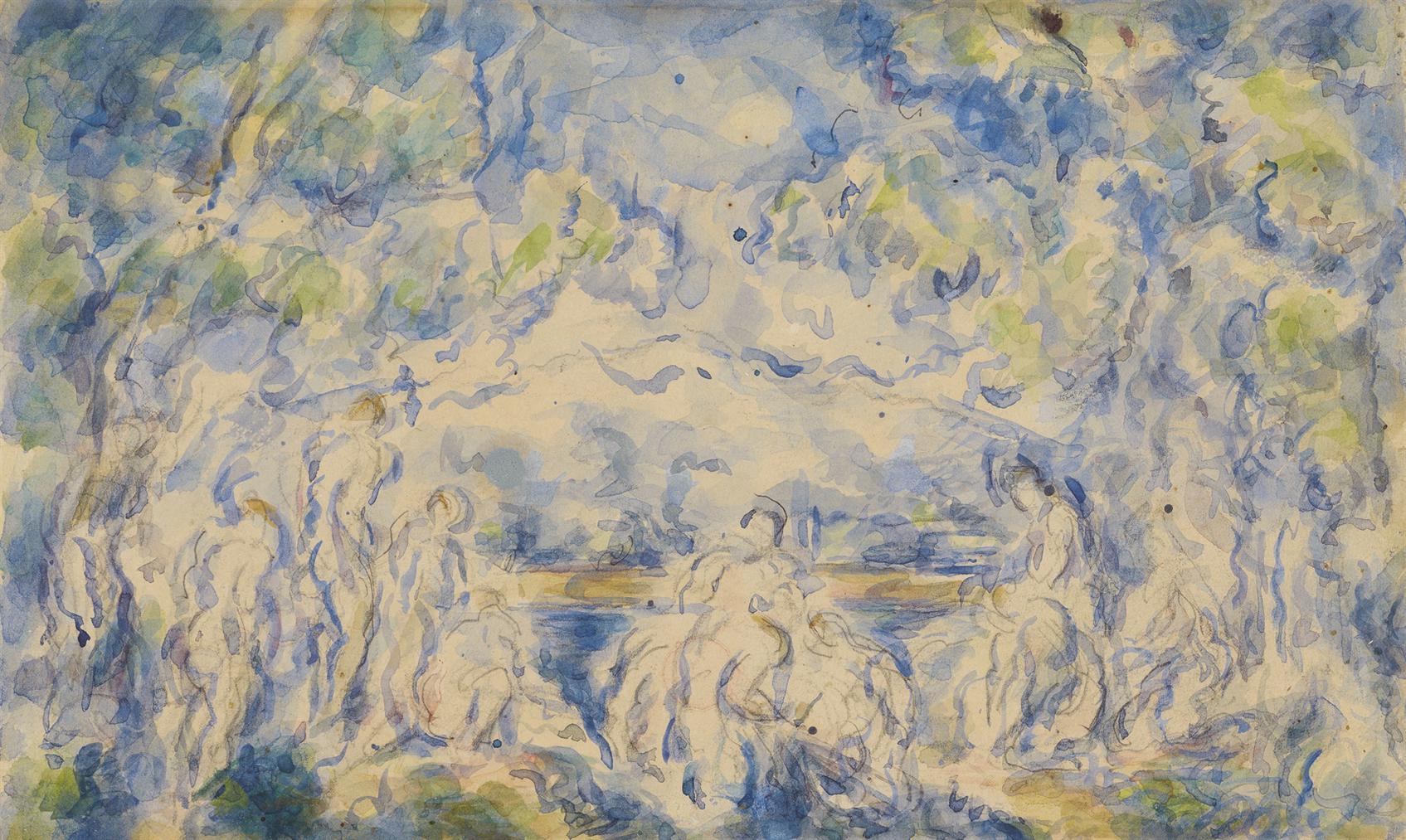 Paul Cezanne-Baigneuses Devant Une Montagne (Recto); Etude De Maison (Verso)-1906