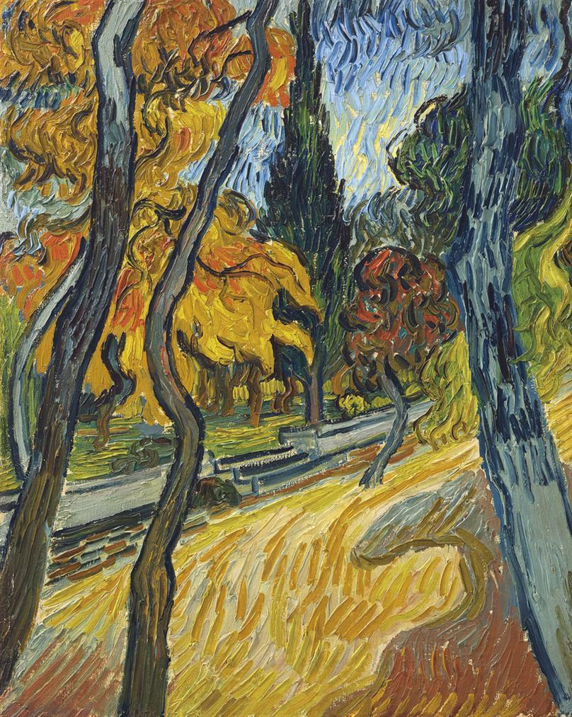 Vincent van Gogh-Arbres Dans Le Jardin De Lasile-1889