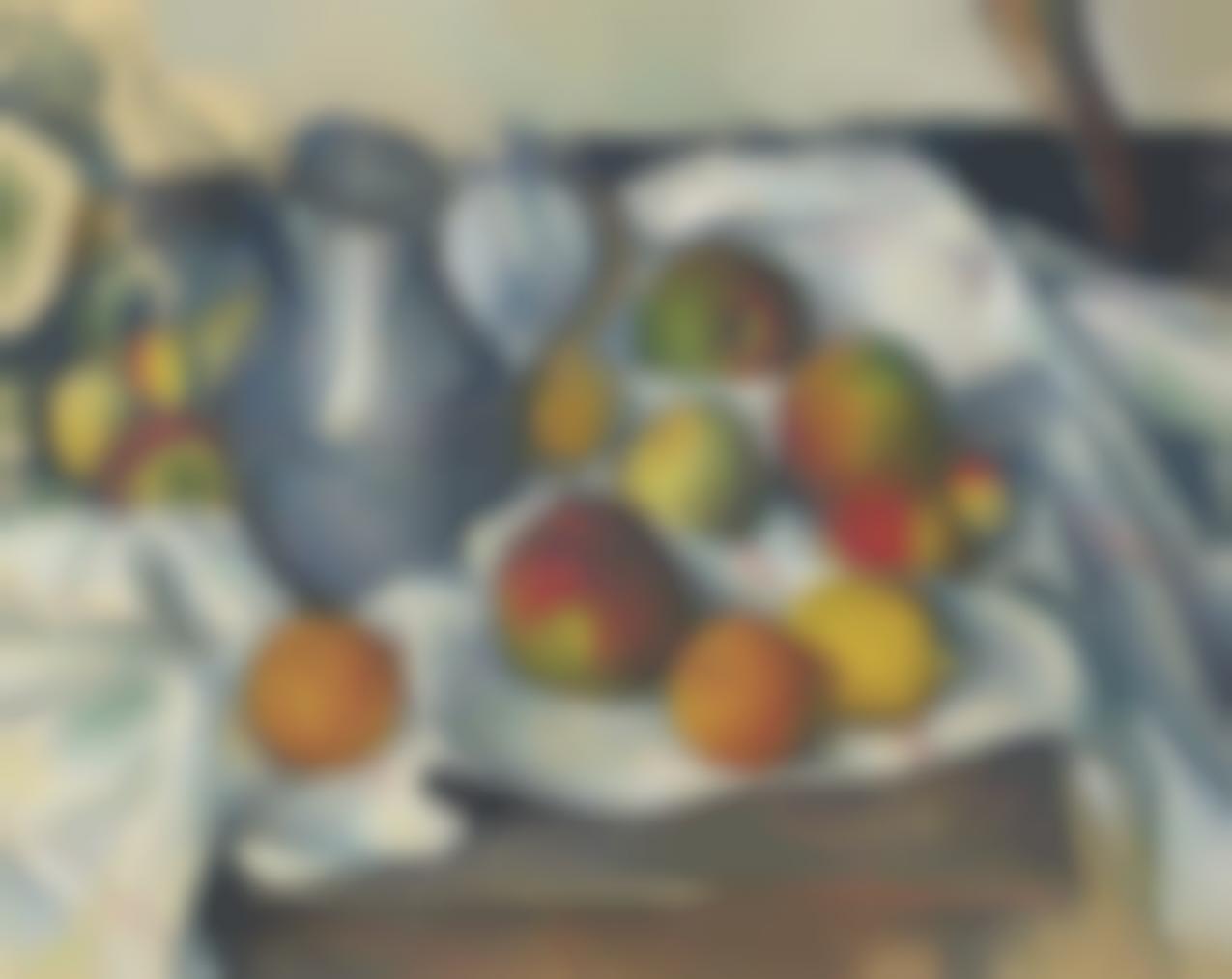 Paul Cezanne-Bouilloire Et Fruits-1890