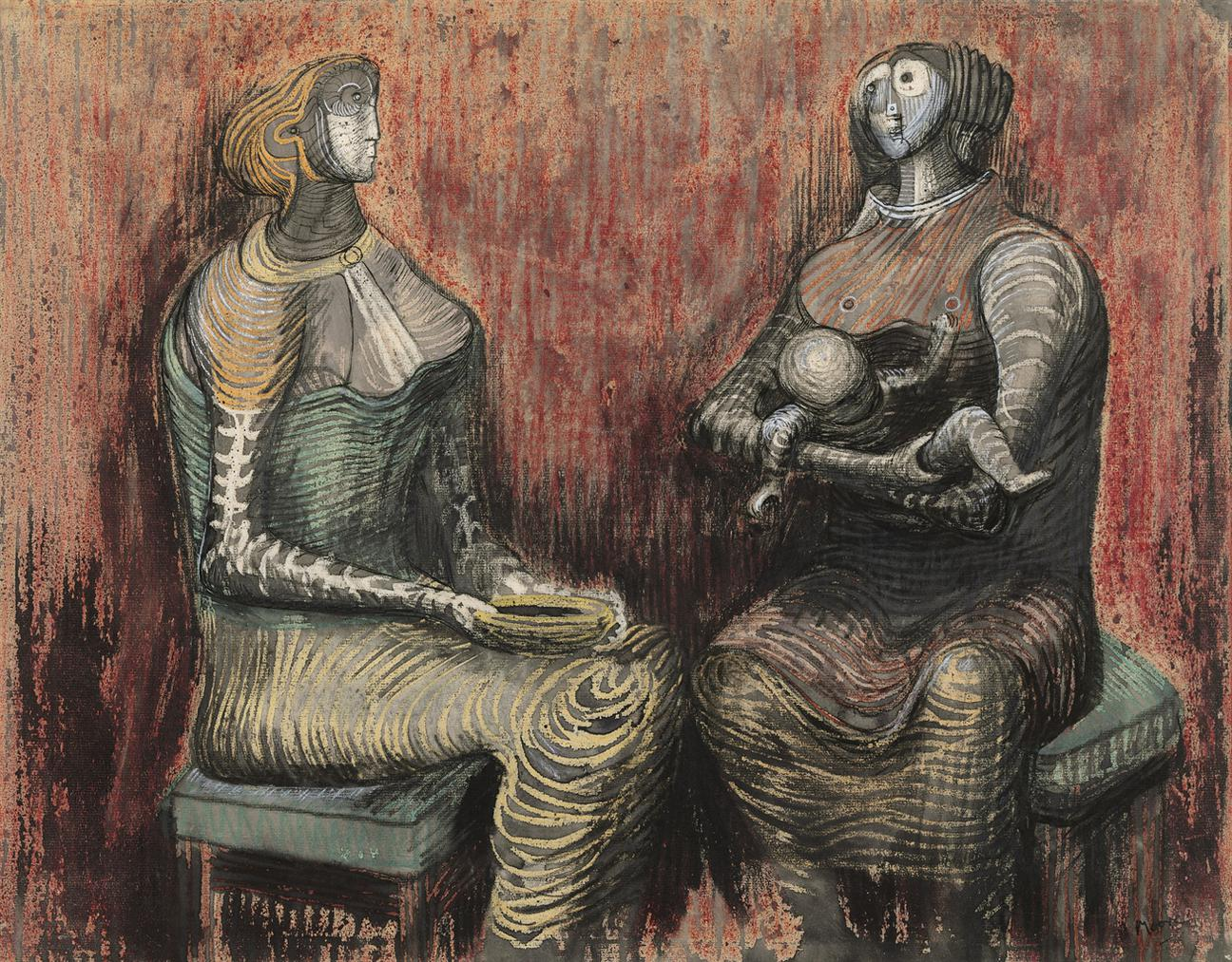 Henry Moore-Two Women And Child-1948