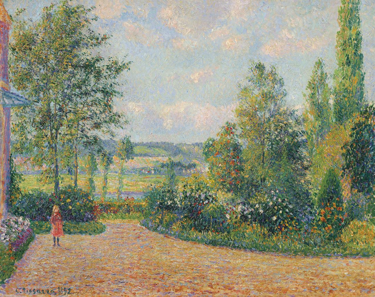 Camille Pissarro-Le Jardin Doctave Mirbeau, La Terrasse, Les Damps-1892