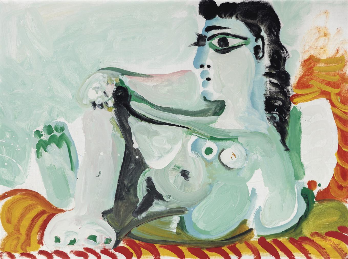 Pablo Picasso-Nu Assis Appuye Sur Des Coussins-1964