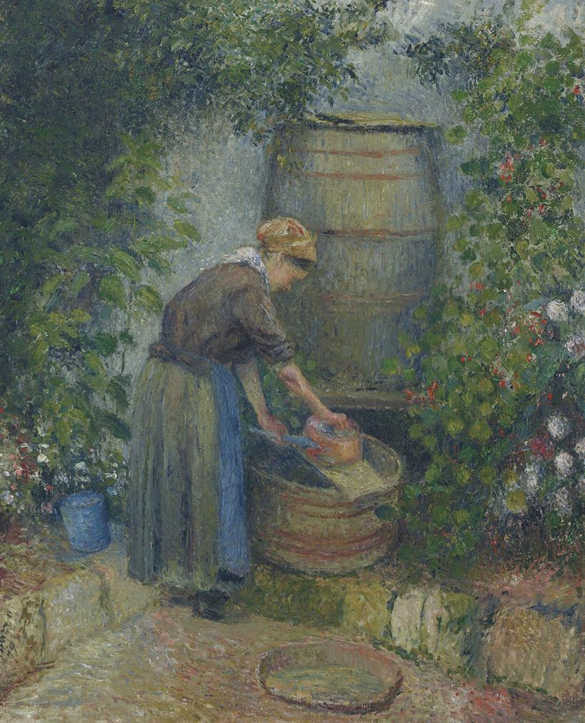 Camille Pissarro-Femme Lavant Une Casserole-1879
