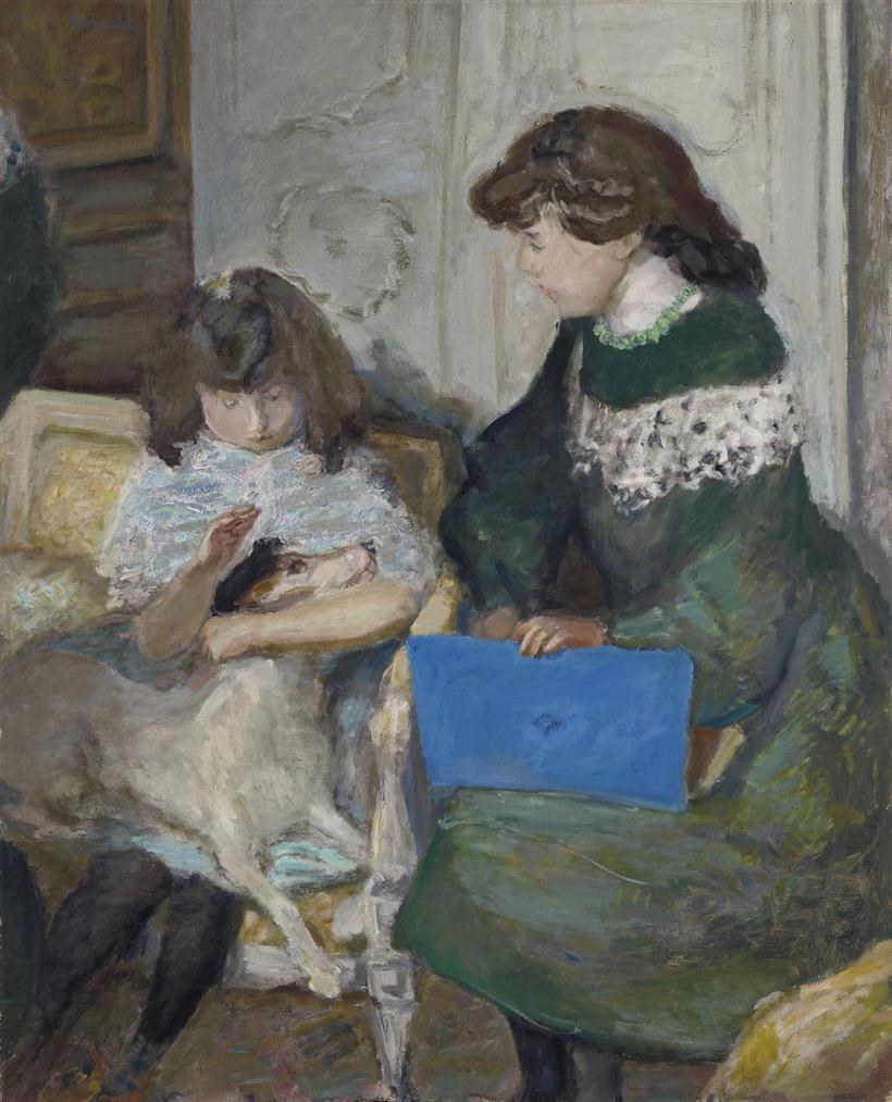 Pierre Bonnard-Jeunes Filles Au Chien (Deux Des Filles Dalexandre Natanson)-1910