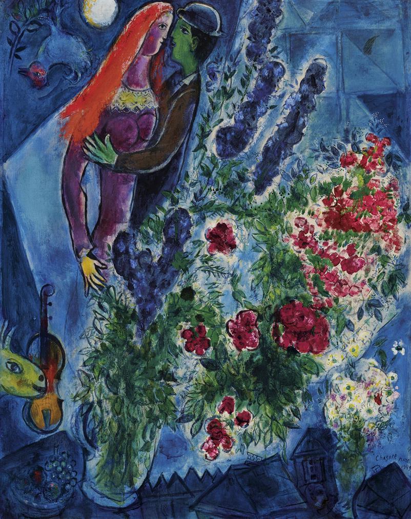 Marc Chagall-La Belle Rousse Ou Les Cheveux Rouges-1949