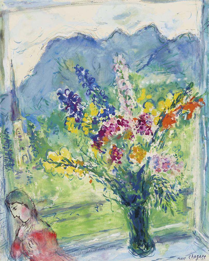 Marc Chagall-Fleurs Devant Le Clocher-1967