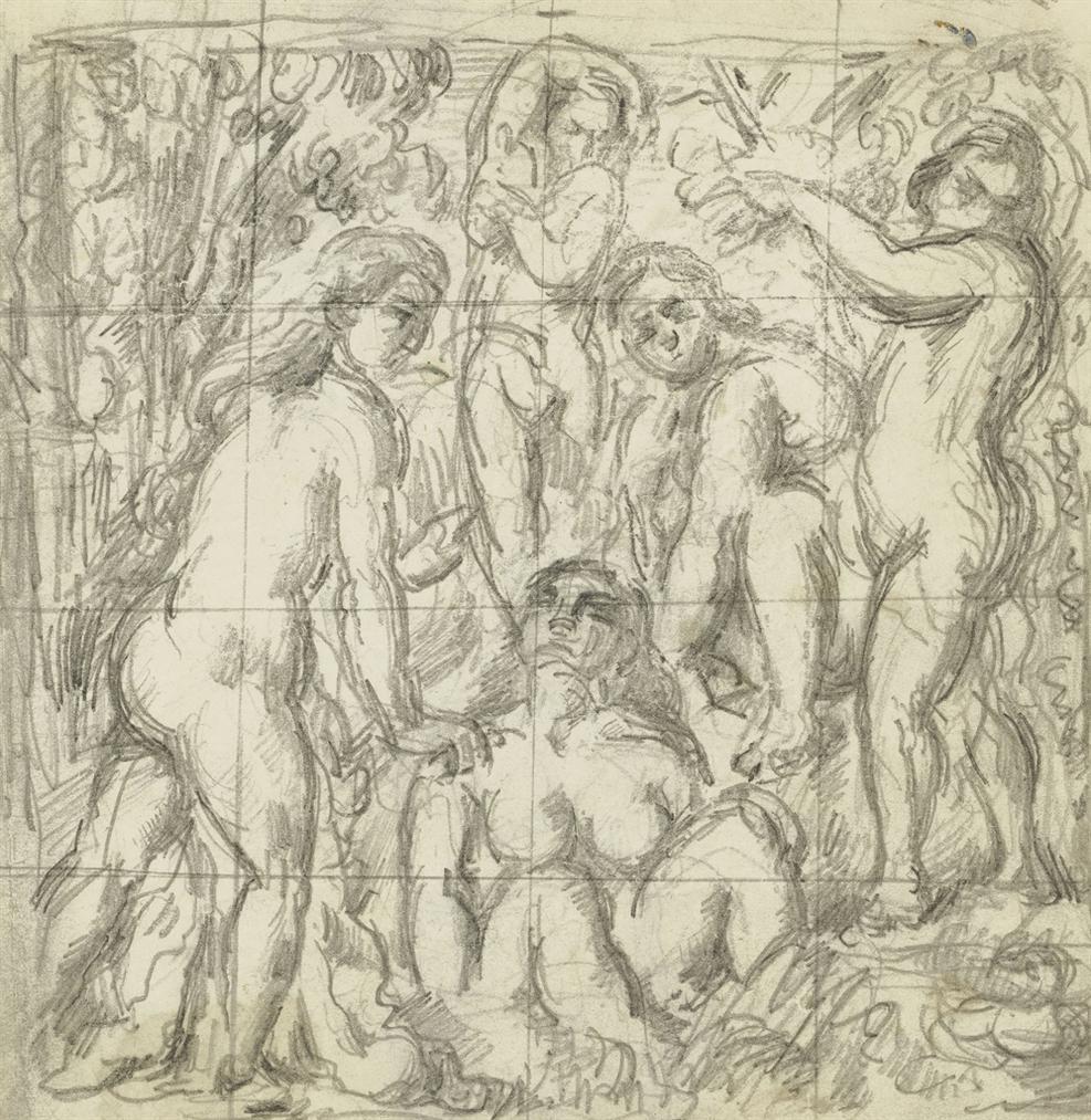 Paul Cezanne-Cinq Baigneuses (Recto); Etudes De Baigneuse (Verso)-1882