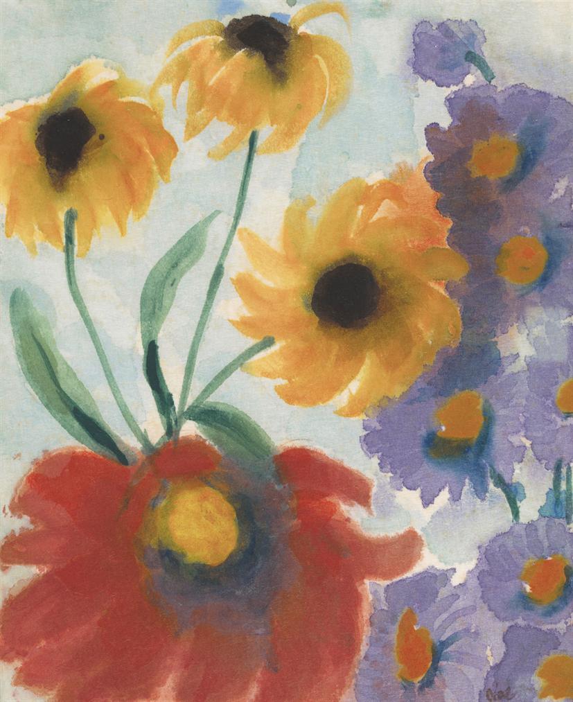 Emil Nolde-Rote, Gelbe Und Violette Bluten-1940