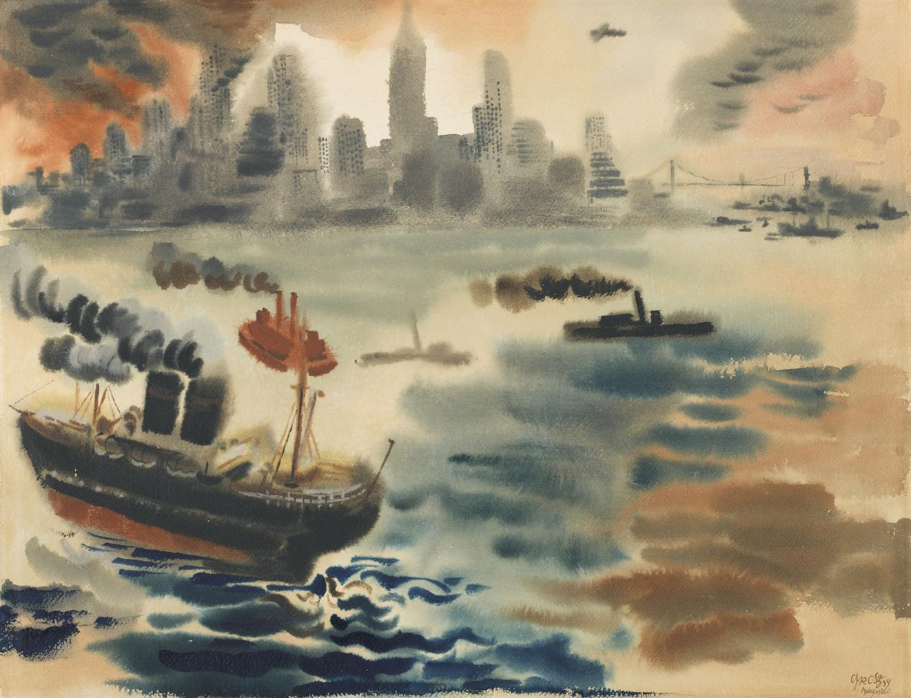 George Grosz-New York Harbor-1934