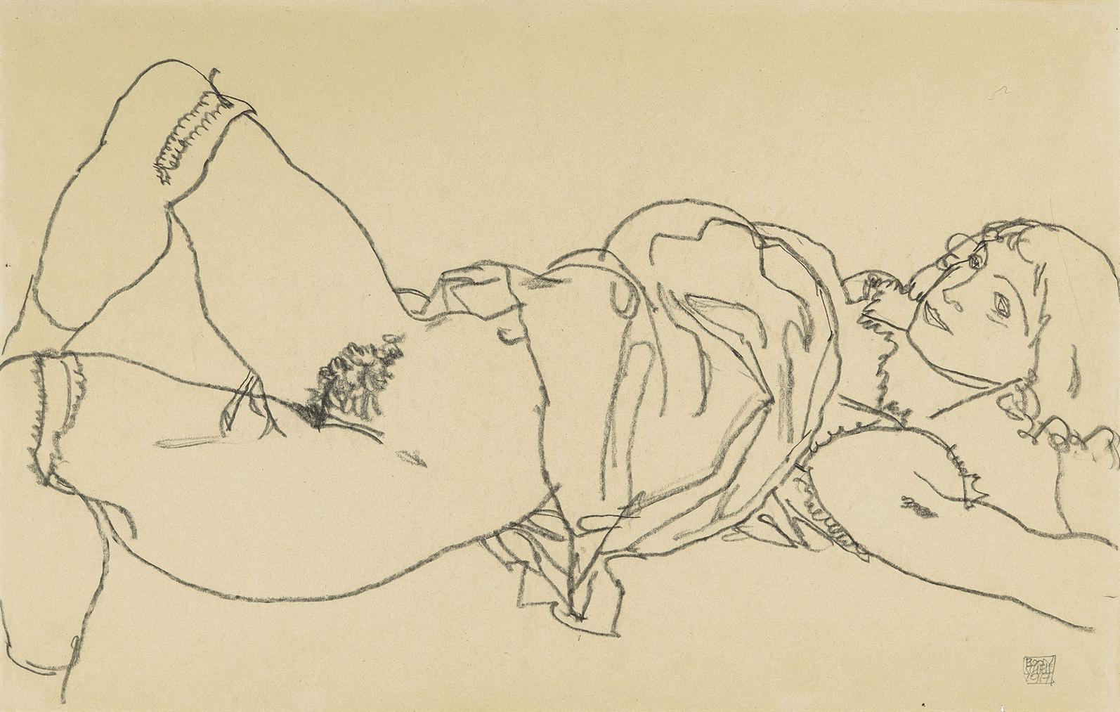 Egon Schiele-Liegender Madchenakt Nach Rechts, In Ganzer Figur-1917