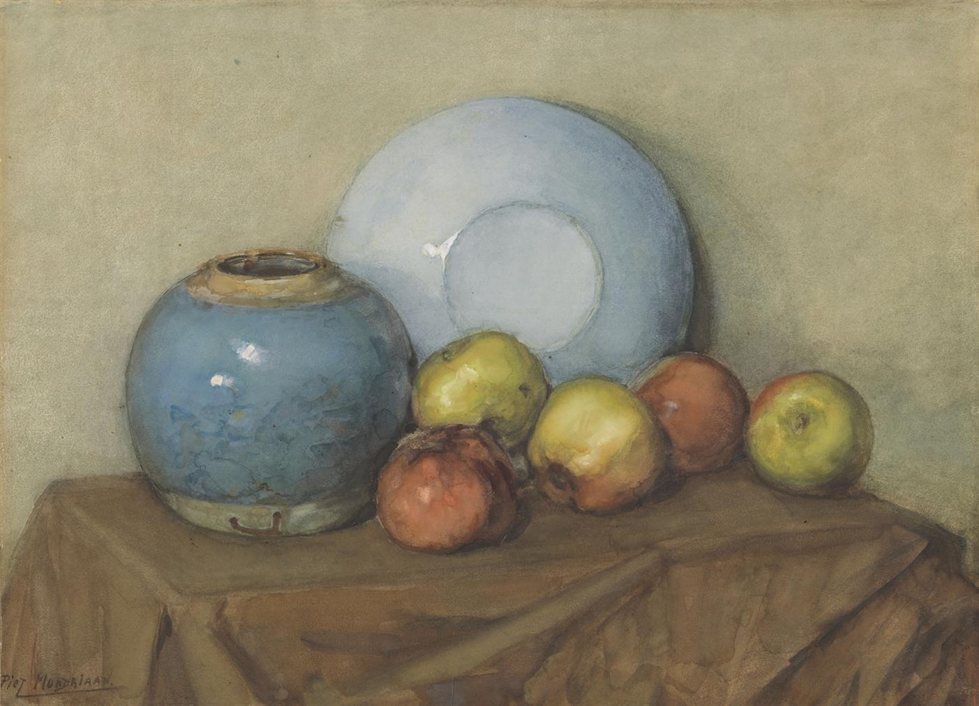 Piet Mondrian-Appels, Ronde Pot En Plaat Op Een Tafel-1901