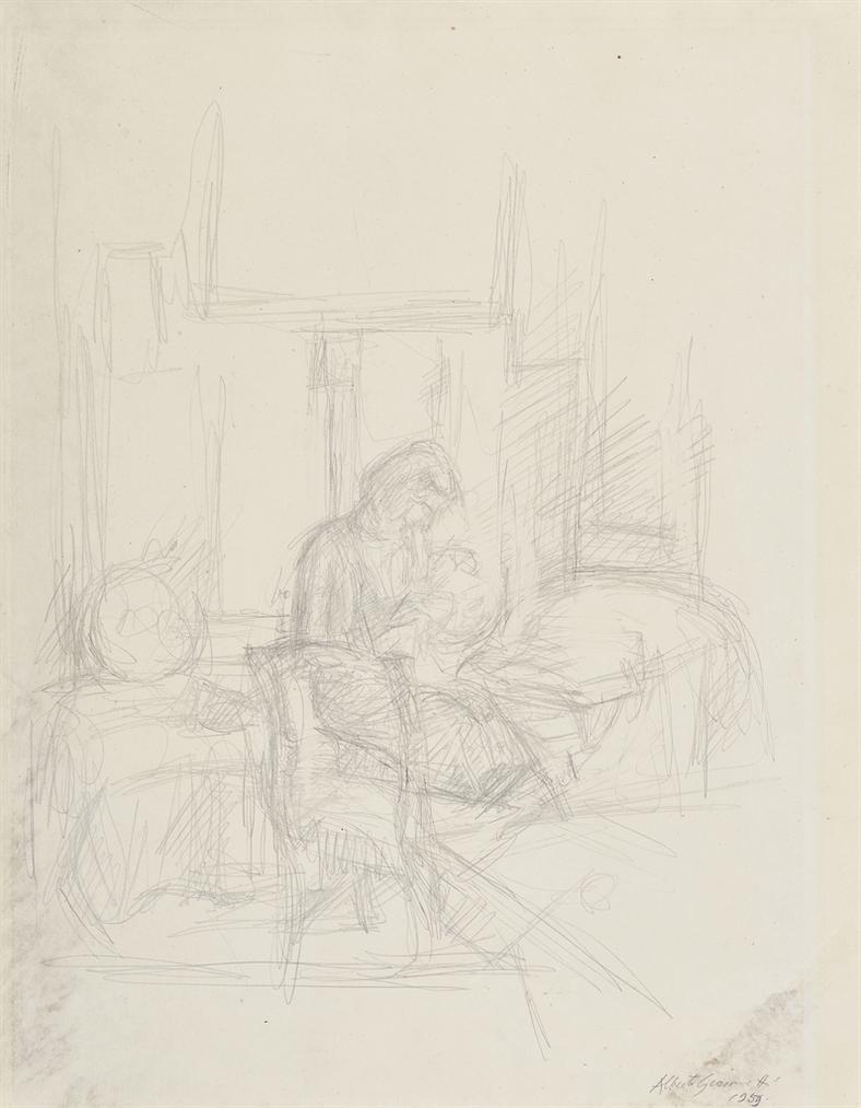 Alberto Giacometti-Annette Cousant-1956