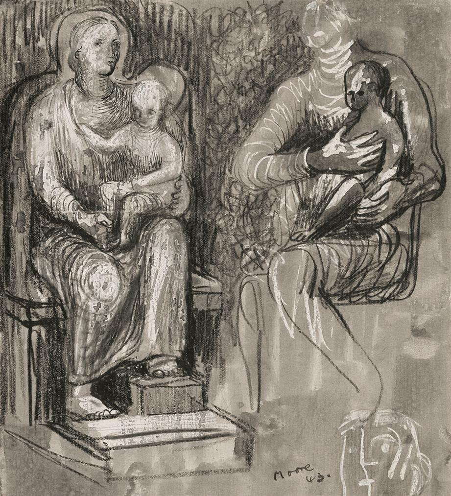 Henry Moore-Madonna And Child Studies-1943
