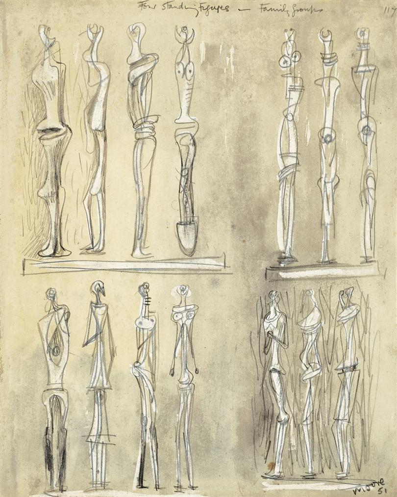 Henry Moore-Four Standing Figures-1951