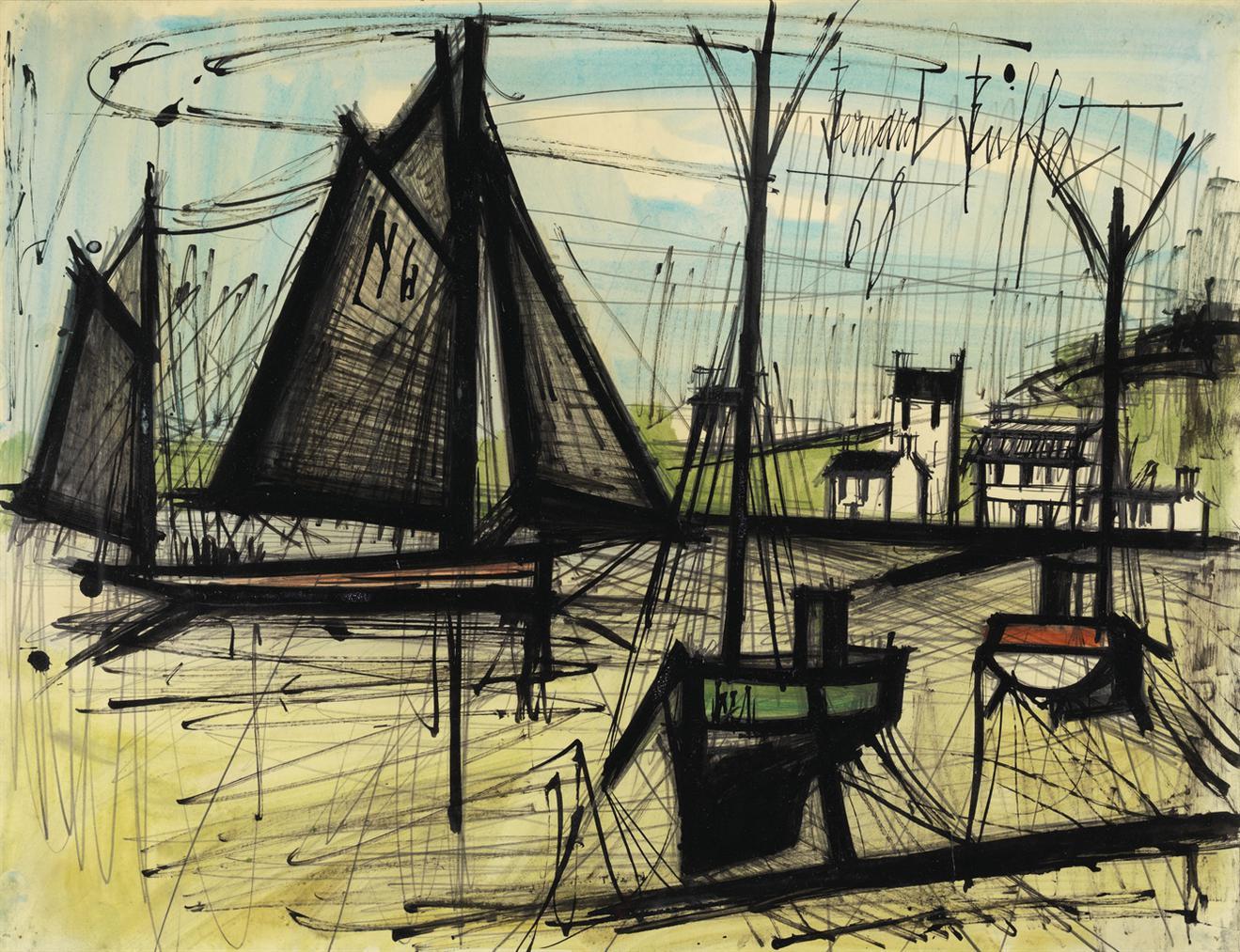 Bernard Buffet-Voiliers, Barques A Maree Basse-1968