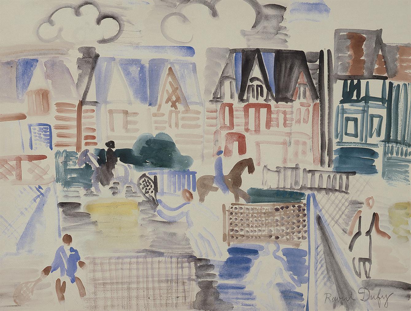 Raoul Dufy-Deauville, Joueurs De Tennis Et Cavaliers-1929