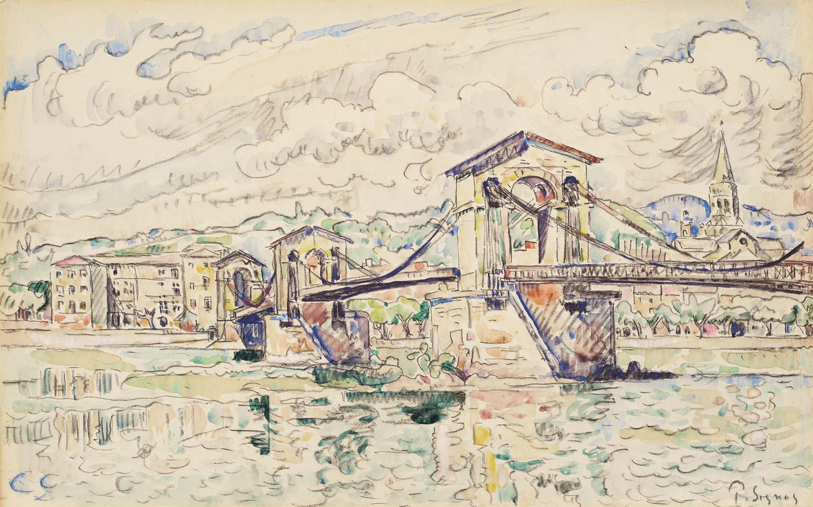 Paul Signac-Le Pont De Bourg-Saint-Andeol-1926