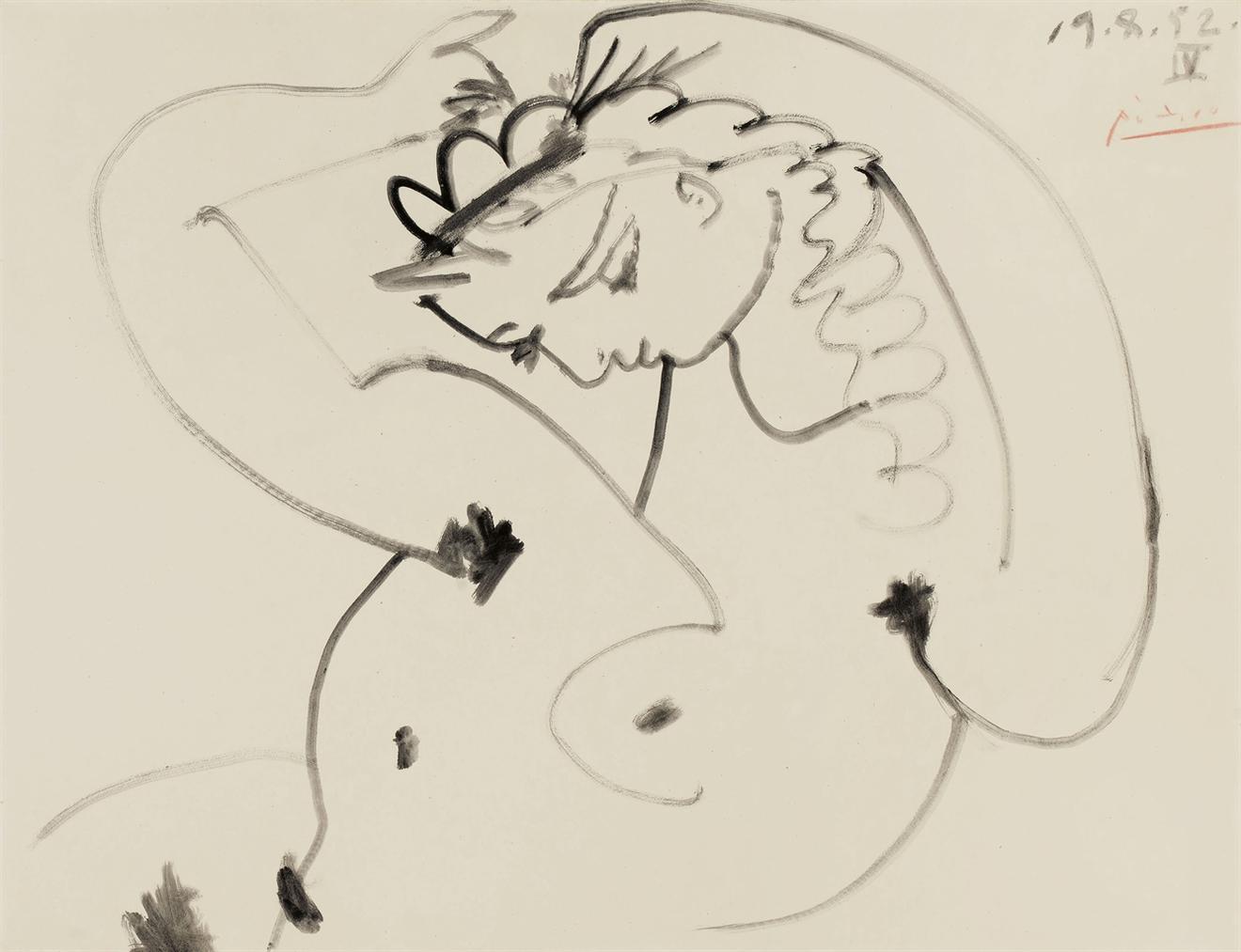 Pablo Picasso-Femme Se Coiffant-1952