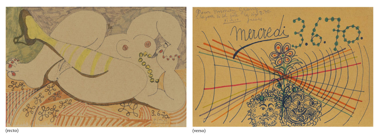 Pablo Picasso-Nu Couche Au Collier (Recto); Deux Tetes (Verso)-1970