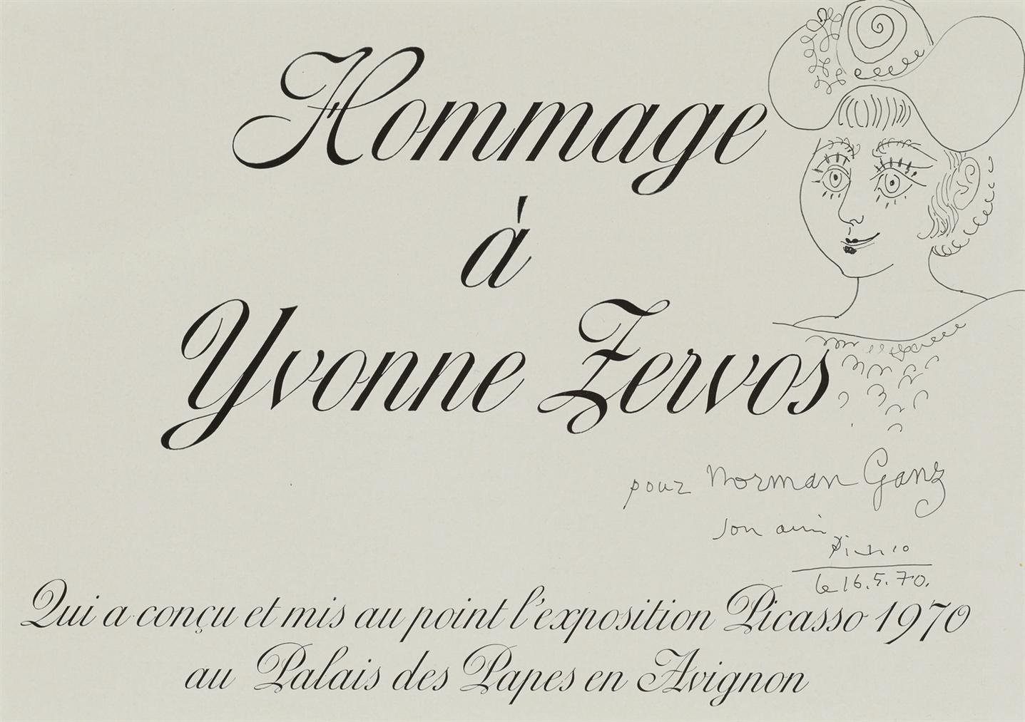 Pablo Picasso-Hommage A Yvonne Zervos-1970