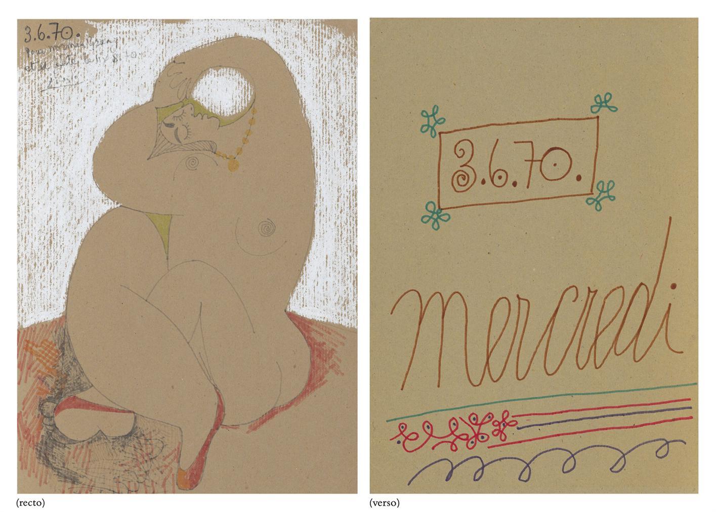 Pablo Picasso-Femme Nue Assise Aux Bras Leves-1970