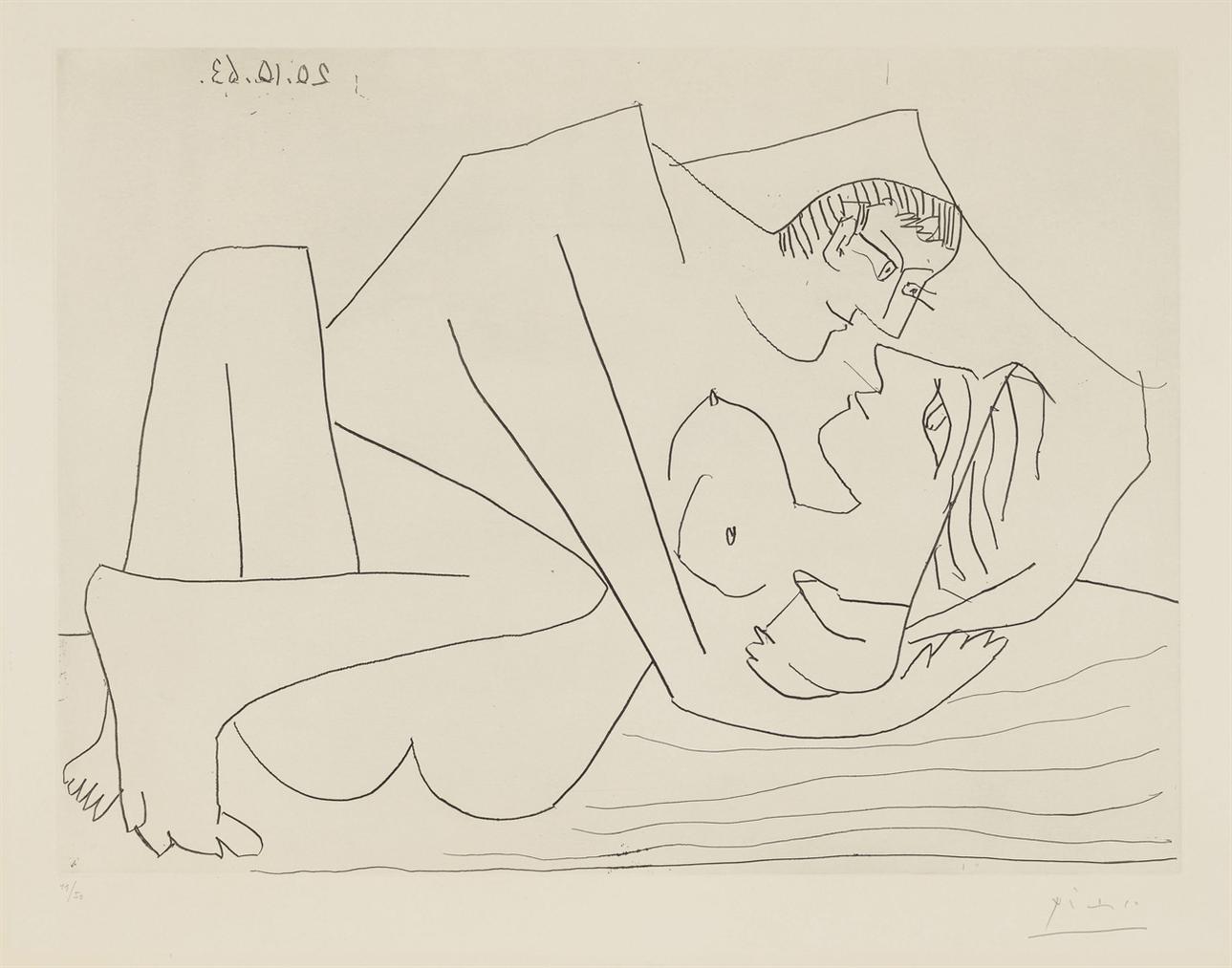 Pablo Picasso-Etreinte III-1963