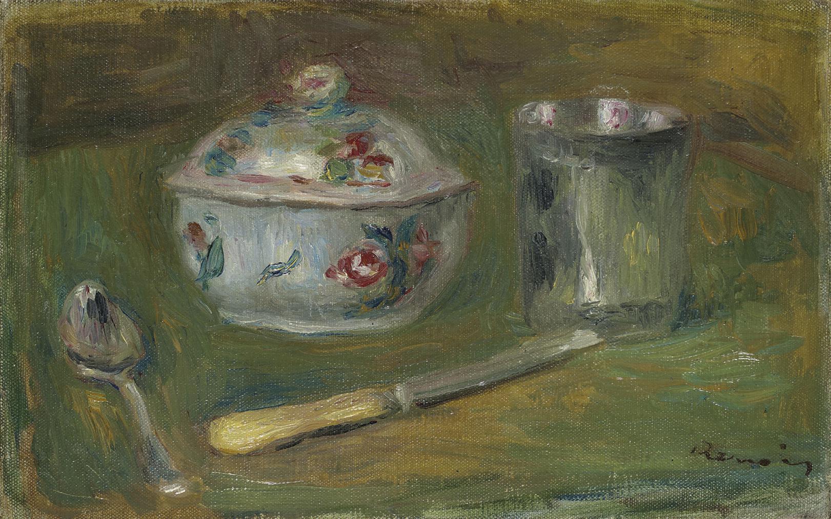 Pierre-Auguste Renoir-Sucrier, Gobelet, Cuillere Et Couteau-1910