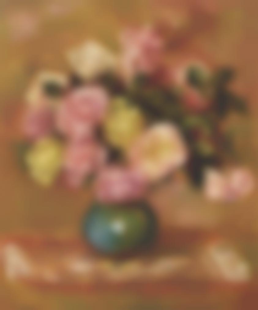 Pierre-Auguste Renoir-Bouquet De Roses Dans Un Vase-1906