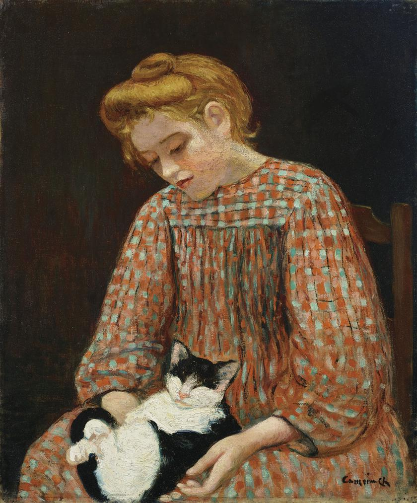 Charles Camoin-Jeune Fille Blonde Avec Un Chat Sur Les Genoux-1900