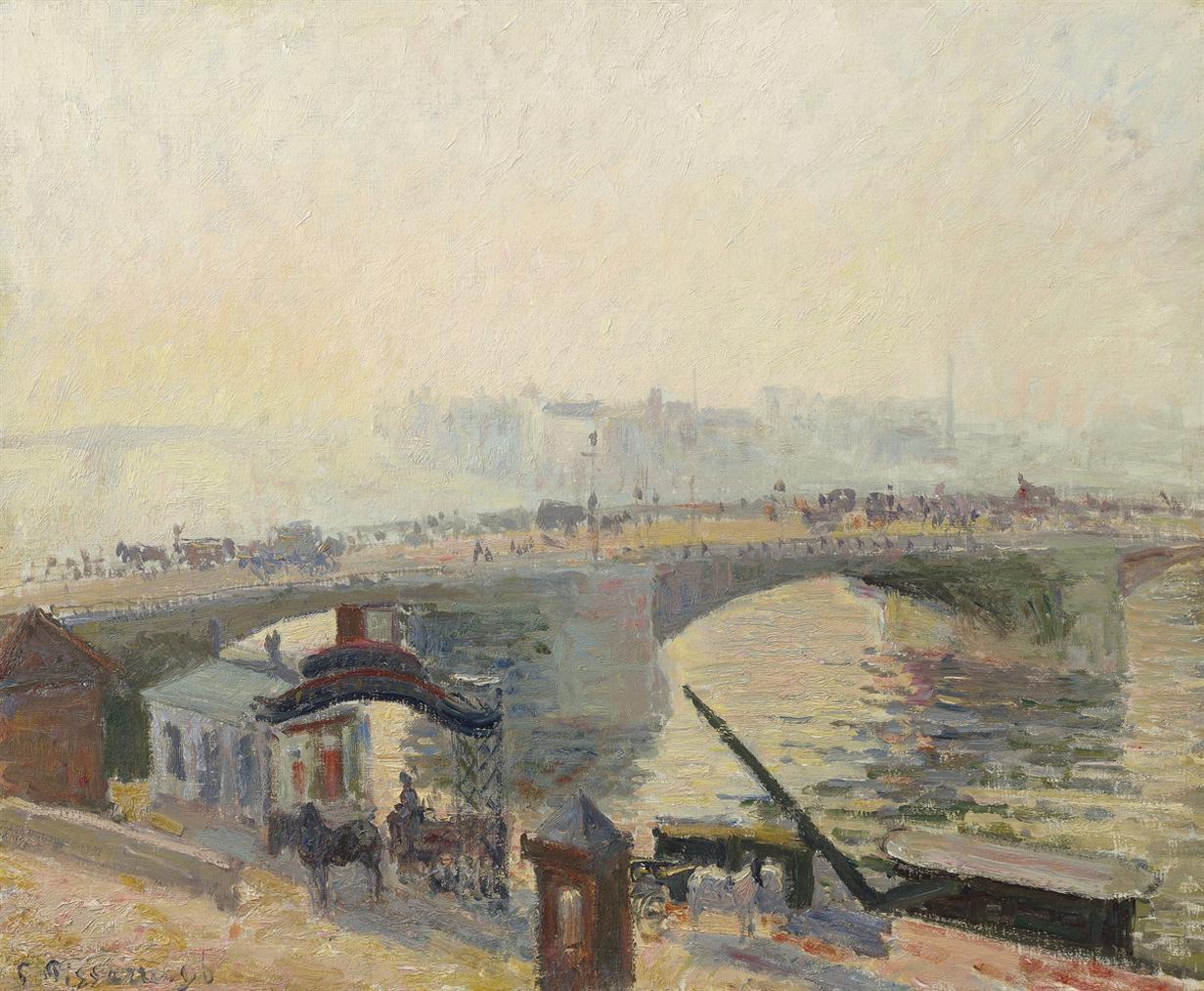 Camille Pissarro-Le Pont Boieldieu A Rouen, Effet De Brume-1896