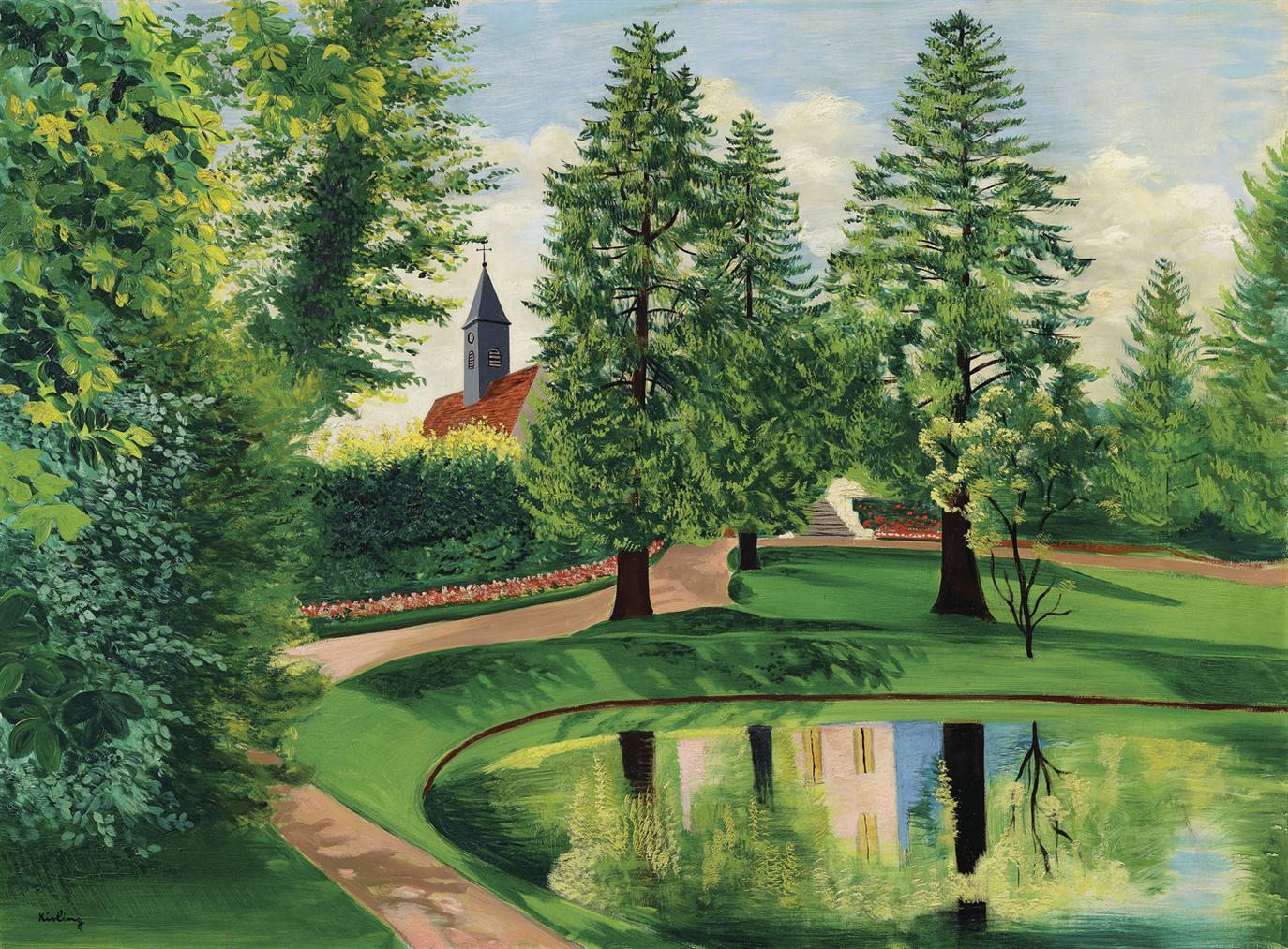 Moise Kisling-Le Parc Et Le Bassin Du Chateau De Gressy-1949