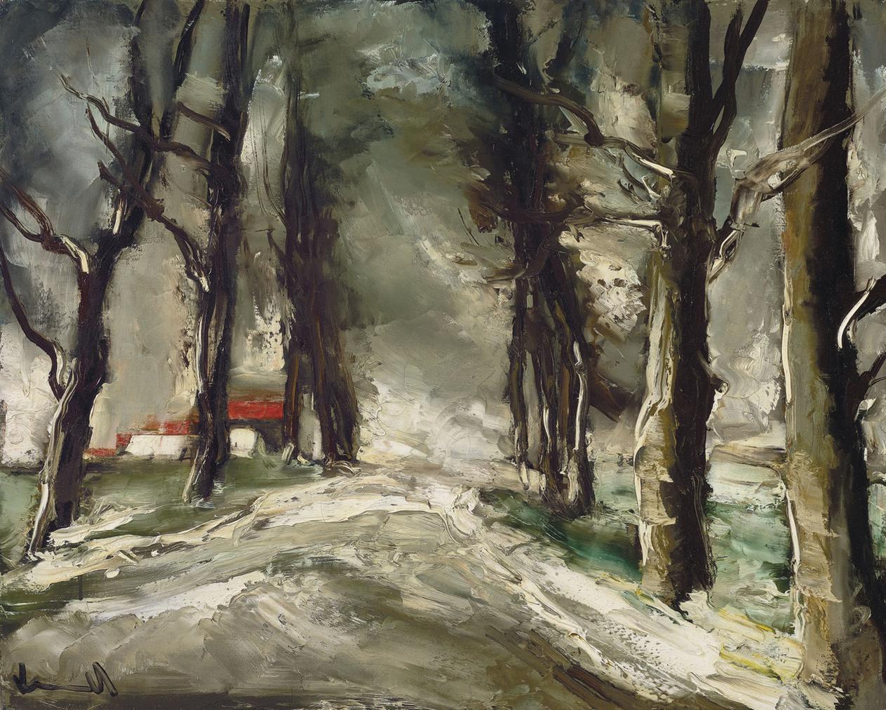 Maurice de Vlaminck-Maison Et Foret Sous La Neige-1937