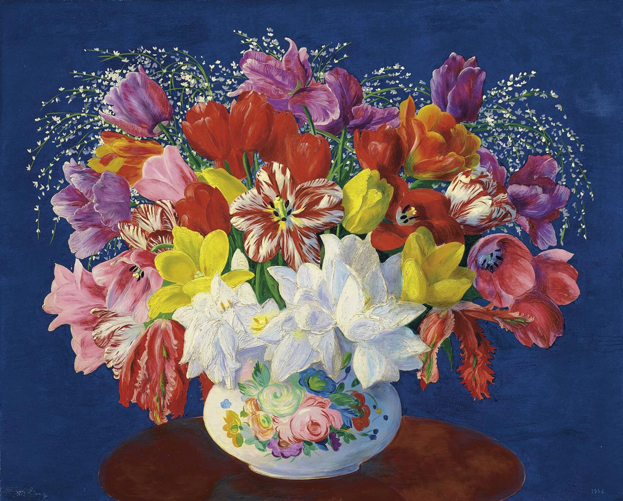 Moise Kisling-Grand Bouquet De Tulipes-1952