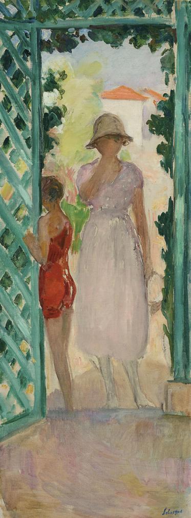Henri Lebasque-Jeune Fille Et Enfant Sous La Tonnelle-1920