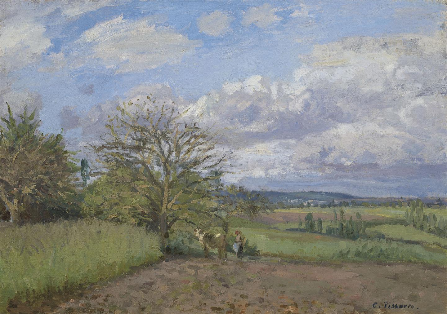 Camille Pissarro-Paysage Avec Une Vachere-1872