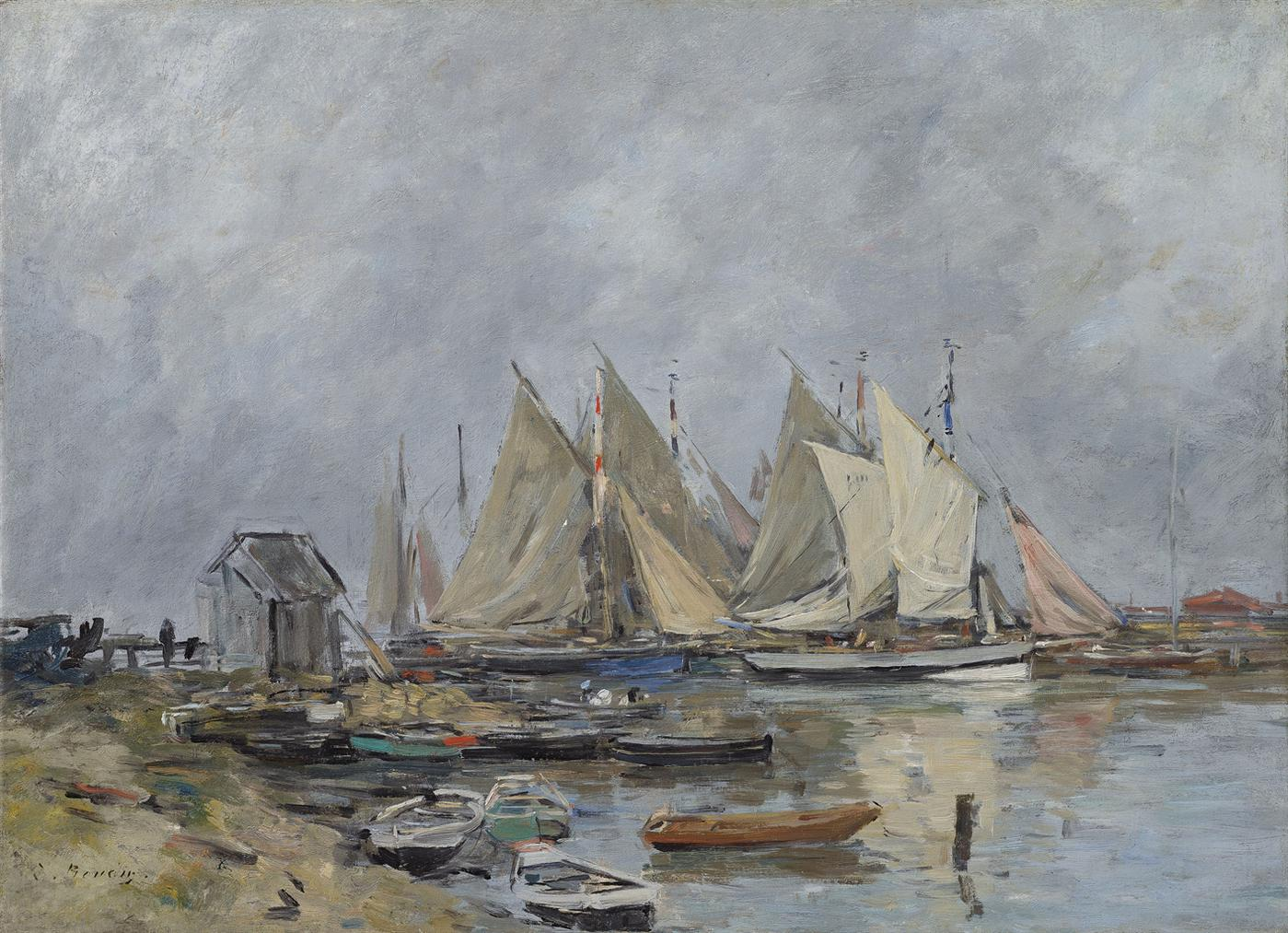 Eugene Louis Boudin-Trouville, Le Port, Barques Et Canots-1885