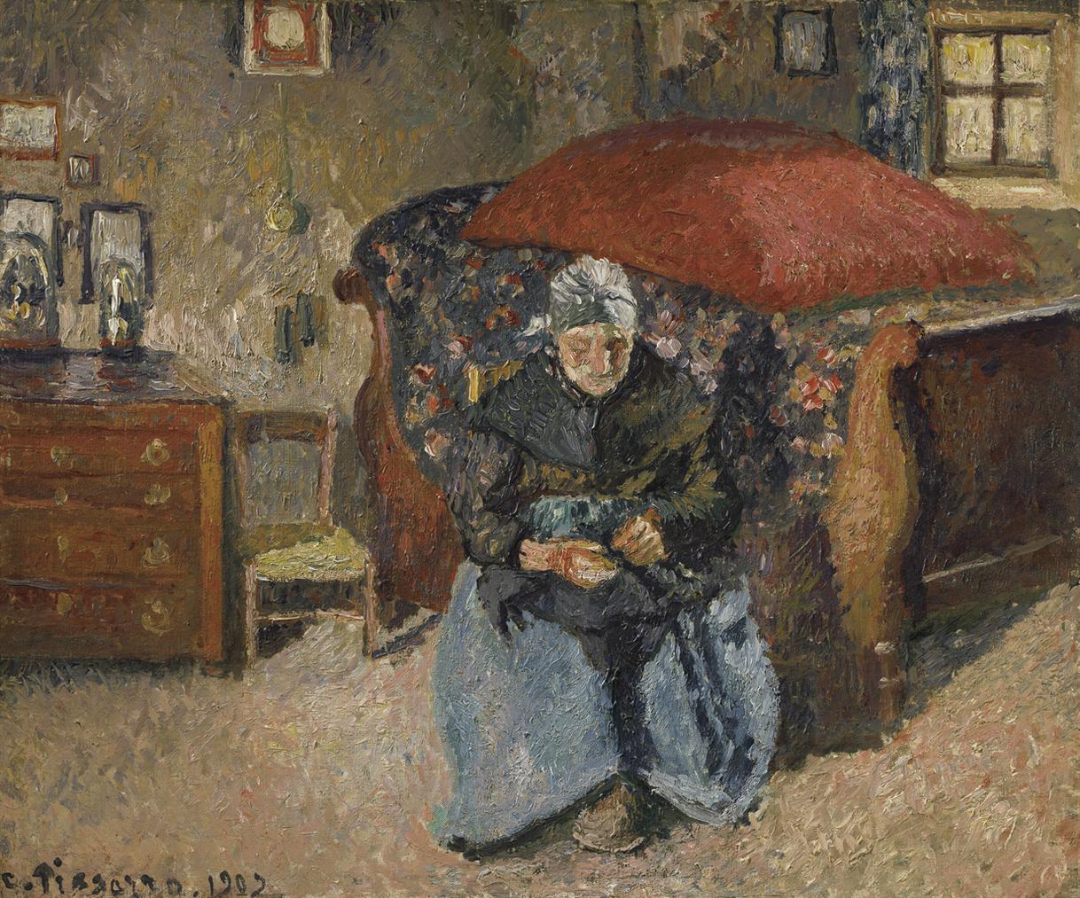 Camille Pissarro-Vieille Paysanne Raccommodant Des Hardes, Moret-1902