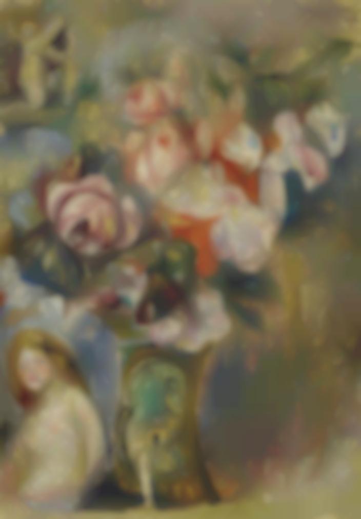 Pierre-Auguste Renoir-Vase De Fleurs Et Femme-1915
