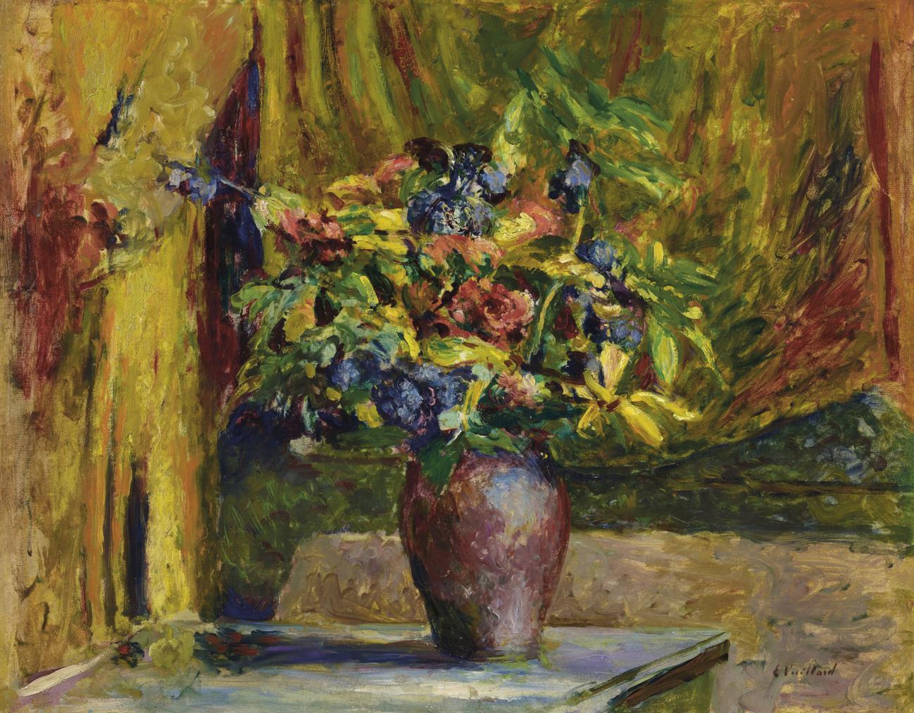 Edouard Vuillard-Pieds-Dalouette Et Geraniums-1906