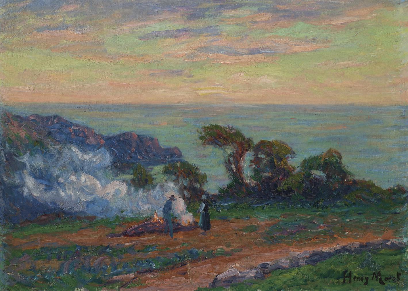 Henry Moret-Le Brulage De Goemon En Bord De Mer-1912