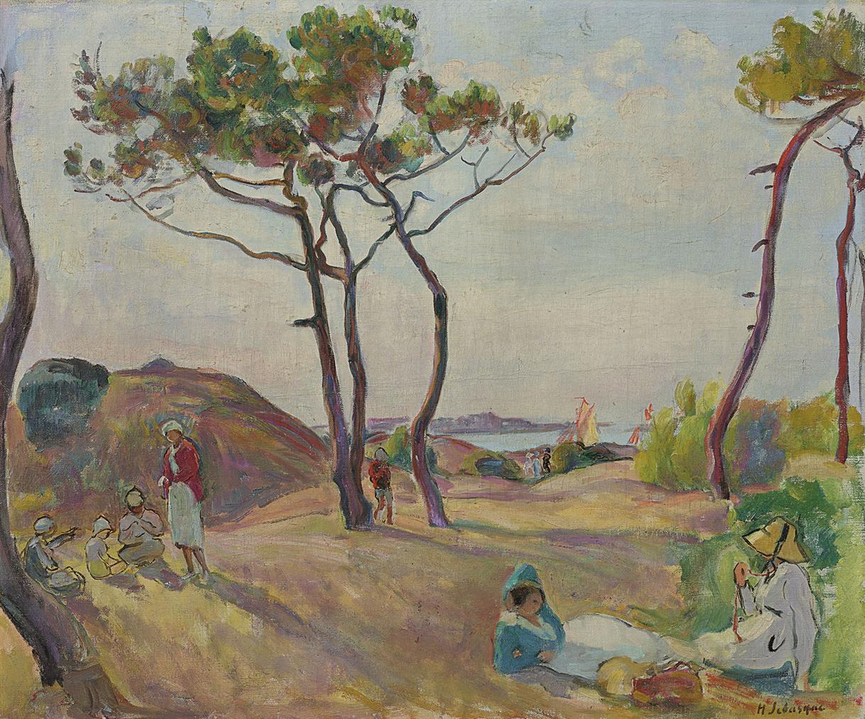 Henri Lebasque-Le Pradet, Les Pins Sur La Plage-1925