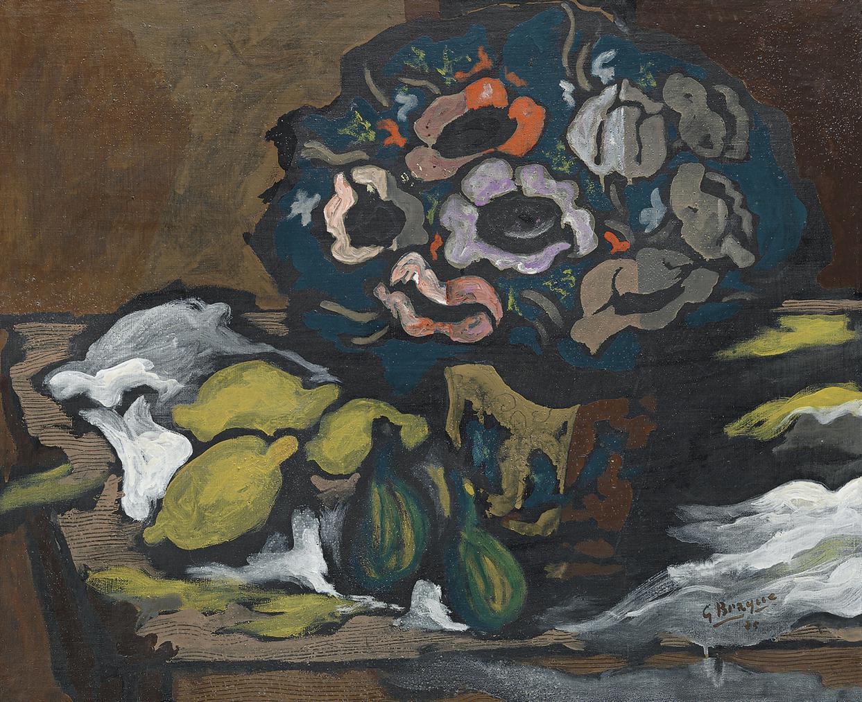 Georges Braque-Vase Danemones (Aux Fruits)-1925