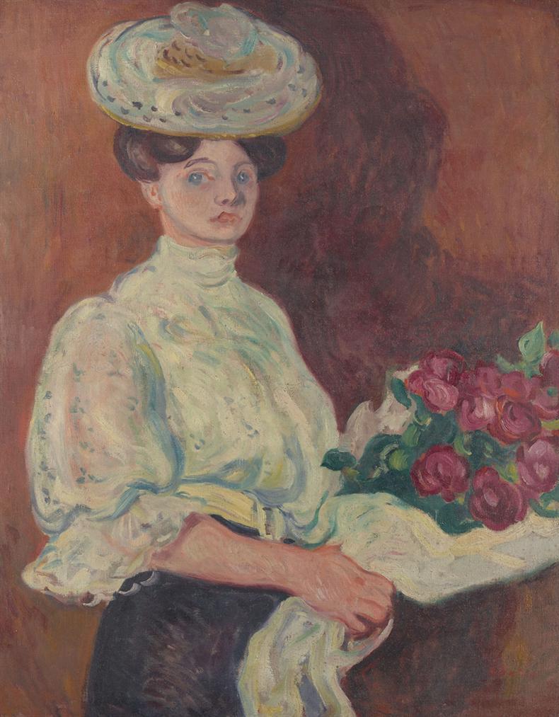 Louis Valtat-Elegante Au Bouquet De Fleurs-