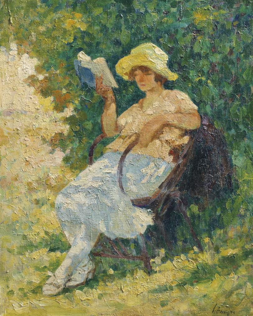 Henri Lebasque-La Lecture Au Jardin-