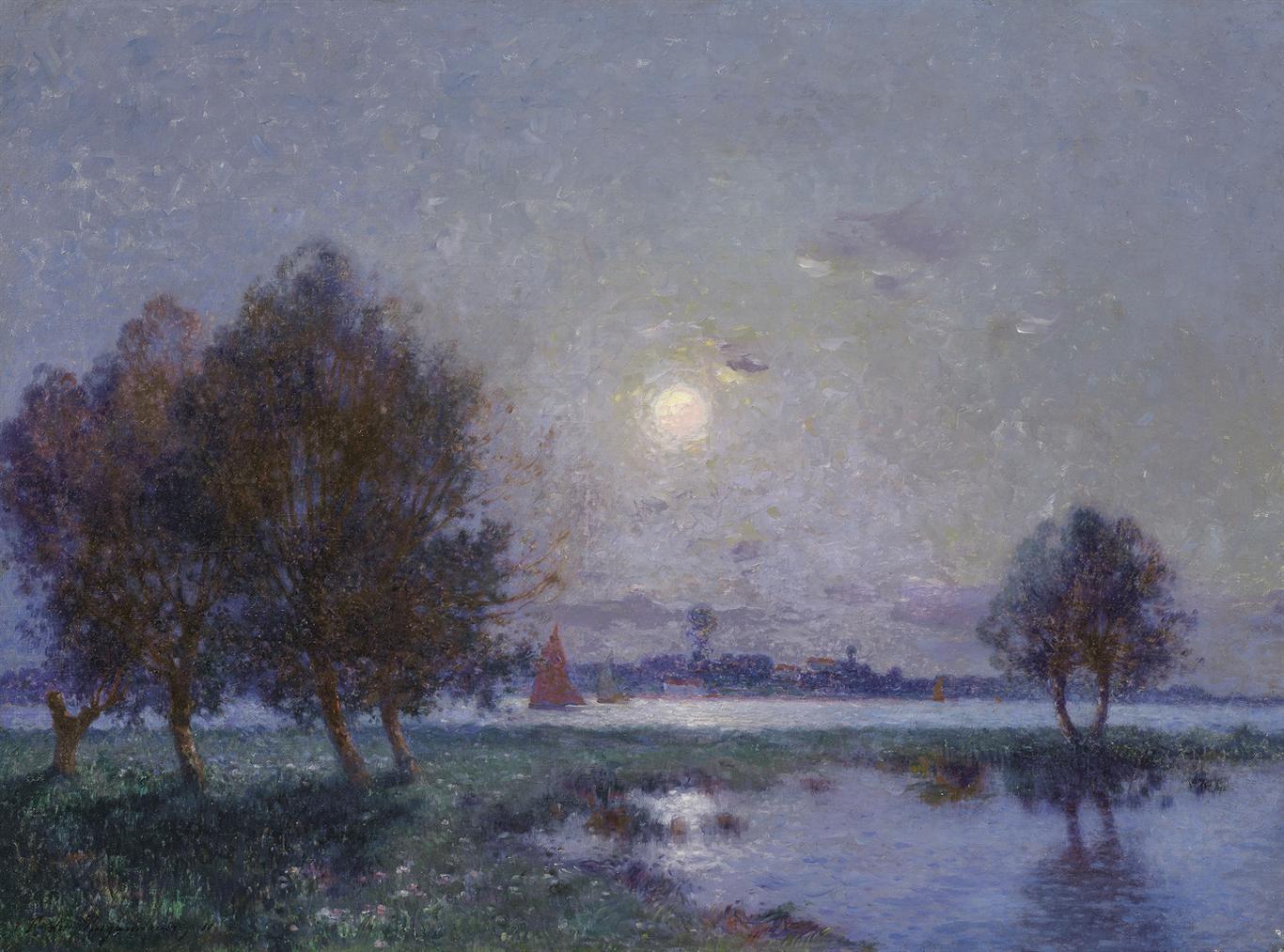 Ferdinand Du Puigaudeau-Bord De Loire Au Clair De Lune-1911